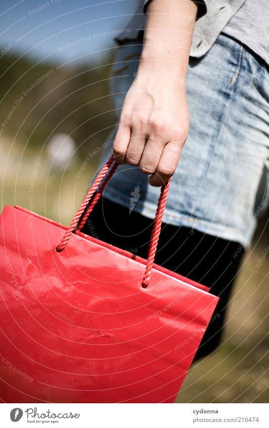 Hand-Tasche Lifestyle Stil Leben Zufriedenheit Handel Mensch Frau Erwachsene Entschlossenheit Erwartung Farbe Freude Idee Lebensfreude feminin Wert Zeit Ziel