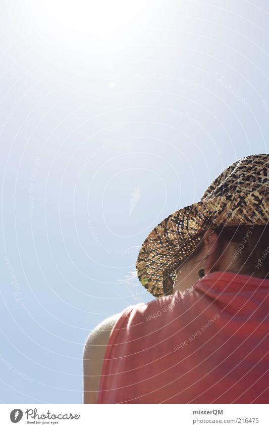 Auf der Hut. Frau Ferien & Urlaub & Reisen Sommer Sonne Erwachsene feminin Wärme träumen Zufriedenheit rosa warten ästhetisch Zukunft Perspektive nachdenklich