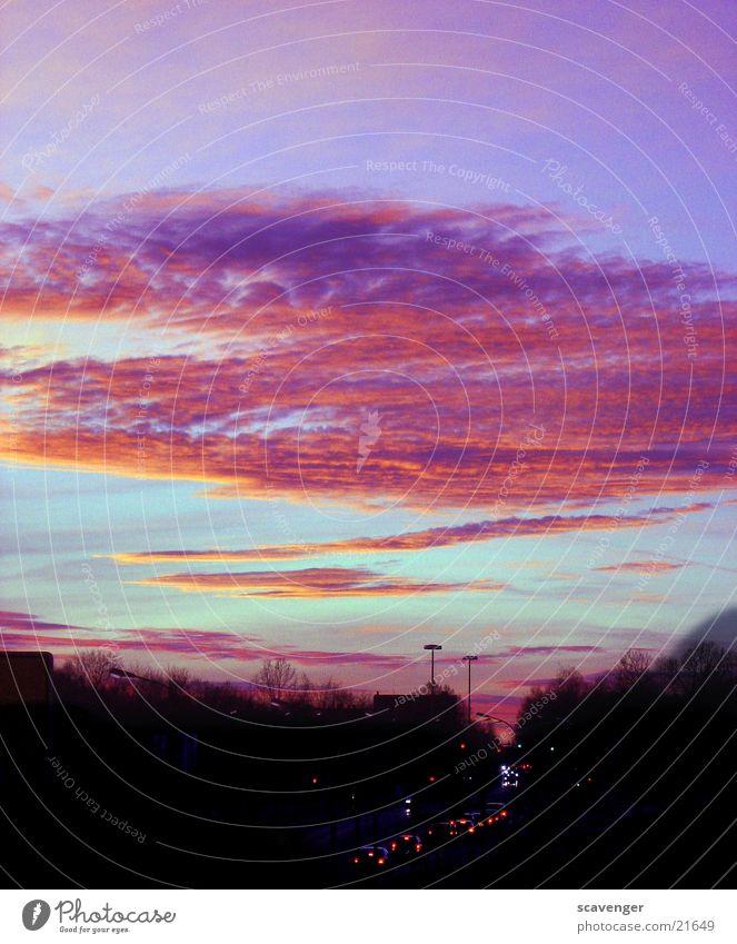 Horizont Baum Sonnenaufgang Sonnenuntergang rot dunkel Wolken Stimmung Straße Licht Abend blau hell Wege & Pfade