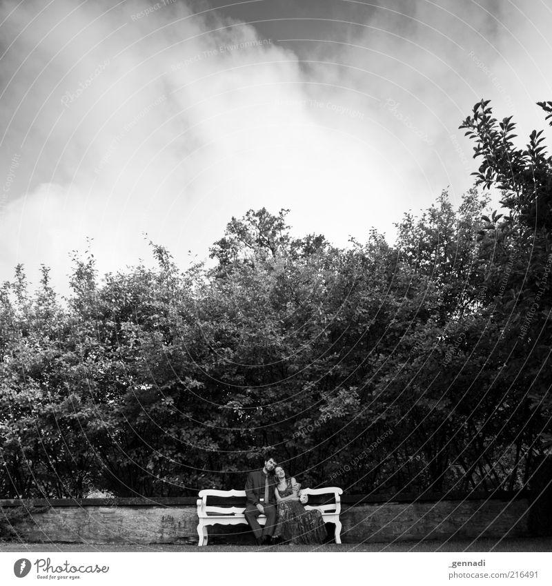 Junges Glück Mensch maskulin Paar Partner Leben 2 Bekleidung Kleid Anzug Liebe sitzen Umarmen schön Gefühle Fröhlichkeit Verlobung Bank Wolkenhimmel Romantik