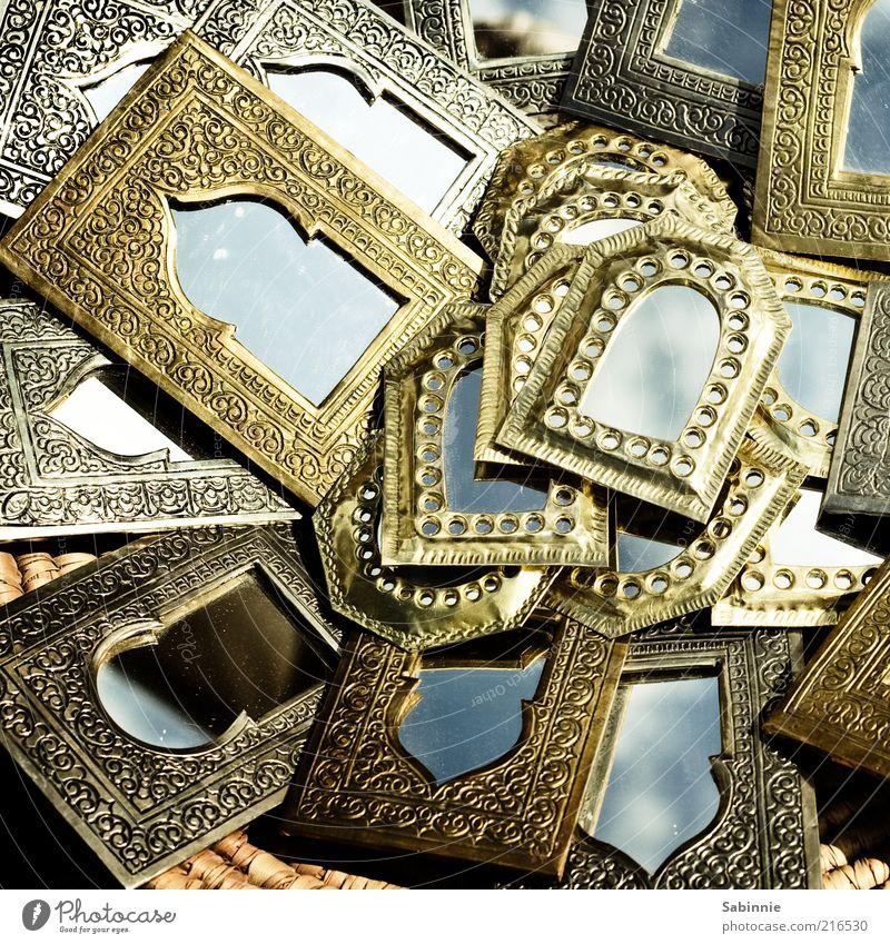 1001 Spiegel exotisch schön Metall Gold Ornament eckig blau Naher und Mittlerer Osten Afrikanisch Basar Messing Kunsthandwerk Souvenirladen Marktstand