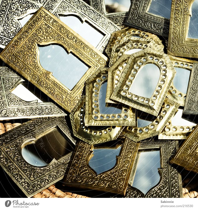 1001 Spiegel schön blau Metall Gold gold mehrere Afrika Spiegel außergewöhnlich viele exotisch Ornament Markt Souvenir eckig Naher und Mittlerer Osten