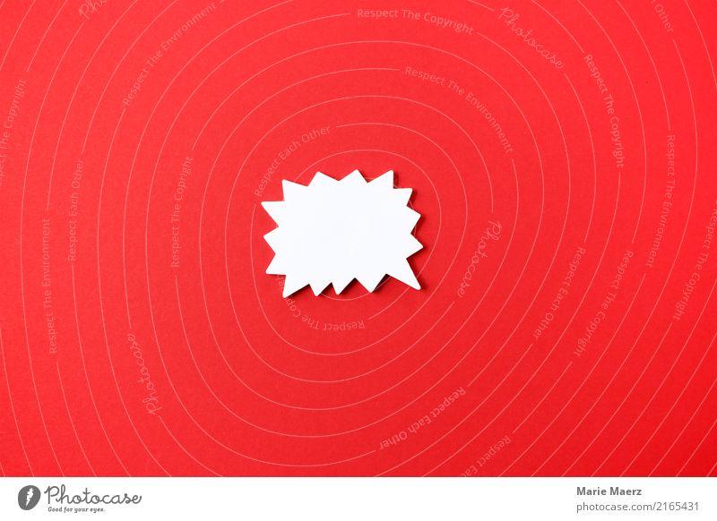 Wichtig - Zacken-Sprechblase Post-It auf rotem Hintergrund Schilder & Markierungen Hinweisschild Warnschild Kommunizieren Aggression wild Wut Macht Mut