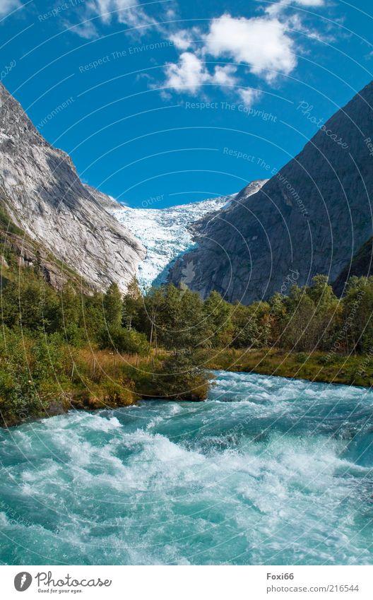Eiskalt Himmel Natur Wasser weiß blau Baum Pflanze Wolken ruhig Erholung Freiheit Berge u. Gebirge Landschaft Bewegung Stein Luft