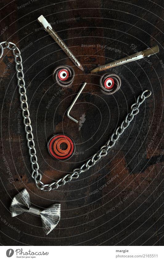Emotionen...coole Gesichter: Mister Fliege Mensch maskulin Mann Erwachsene 1 braun rot Gefühle Eifersucht Misstrauen gereizt Frustration Haarspange