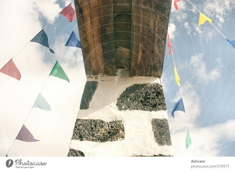 Coloured Flags Ferien & Urlaub & Reisen Ferne Freiheit Sommer Natur Himmel Wolken Fahne blau mehrfarbig gelb grün violett rot Fuerteventura Farbfoto