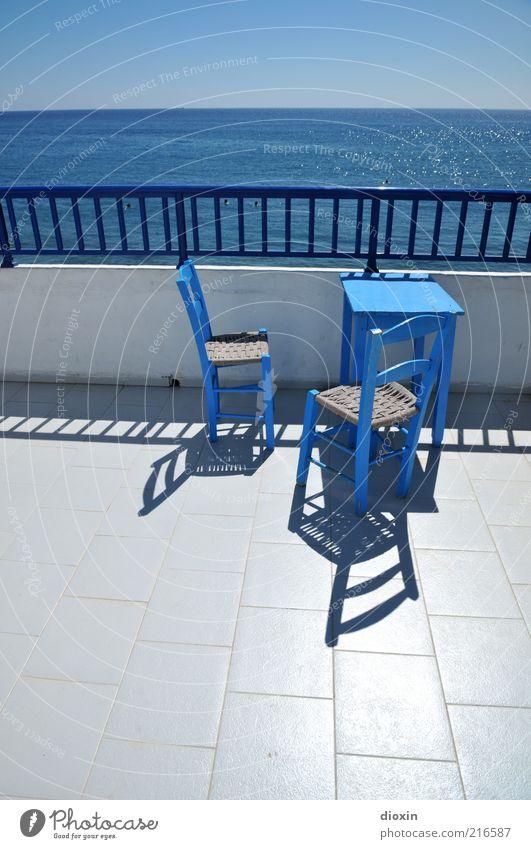 greek style Himmel weiß Meer blau Sommer Ferien & Urlaub & Reisen Ferne Freiheit Gebäude Zufriedenheit Küste Wetter Horizont Tisch Insel Tourismus