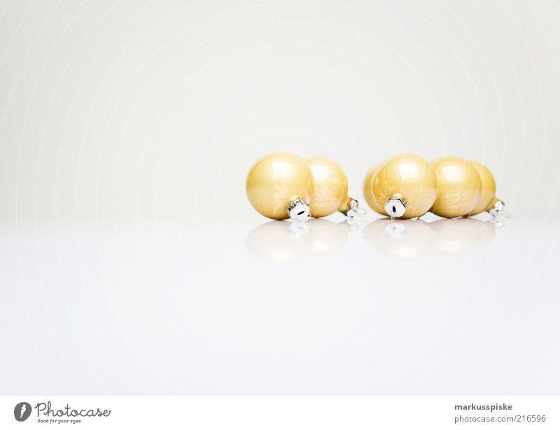 weihnachts dekoration Weihnachten & Advent weiß Stil Feste & Feiern glänzend Glas elegant gold mehrere Dekoration & Verzierung Kugel Christbaumkugel