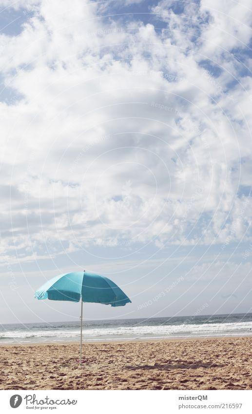 la mer. Meer blau Sommer Strand Ferien & Urlaub & Reisen Erholung Sand Küste Horizont ästhetisch Pause Klima Schutz Sonnenschirm türkis Ostsee