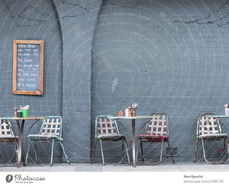 Wait to be seated Ferien & Urlaub & Reisen Städtereise Sommer Stuhl Tisch Restaurant Bar Cocktailbar Essen trinken Terrasse trendy Stadt grau Café Straßencafé