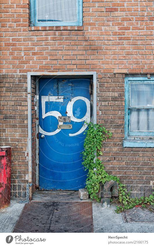 Kurzsichtiger Briefträger? New York City Haus Architektur Mauer Wand Tür Briefkasten Ziffern & Zahlen alt authentisch außergewöhnlich trashig trist blau 59