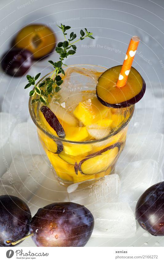 Eisgekühltes Erfrischungsgetränk mit Pflaume, Mango, Thymian, Eiswürfel und Trinkhalm Getränk Frucht Bioprodukte Vegetarische Ernährung Trinkwasser Glas