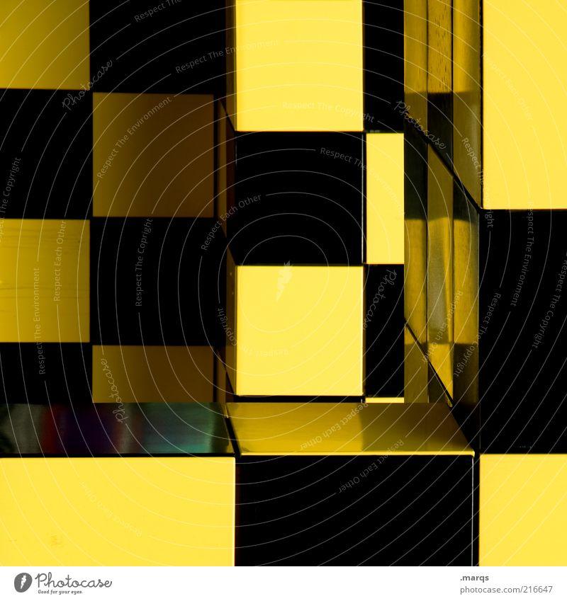 Pattern schwarz gelb Farbe Stil Architektur Design Perspektive Ordnung einzigartig außergewöhnlich Quadrat Kunststoff Kreativität skurril Idee