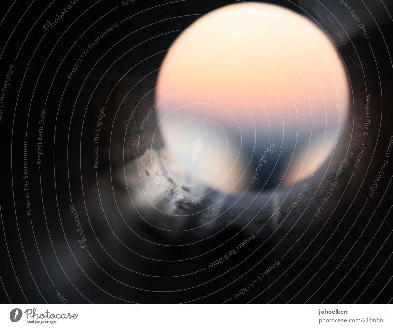 10 * erste Rundung Sonnenaufgang Sonnenuntergang Menschenleer Metall Stahl Kreis rund gelb grau Farbfoto mehrfarbig Außenaufnahme Experiment Dämmerung