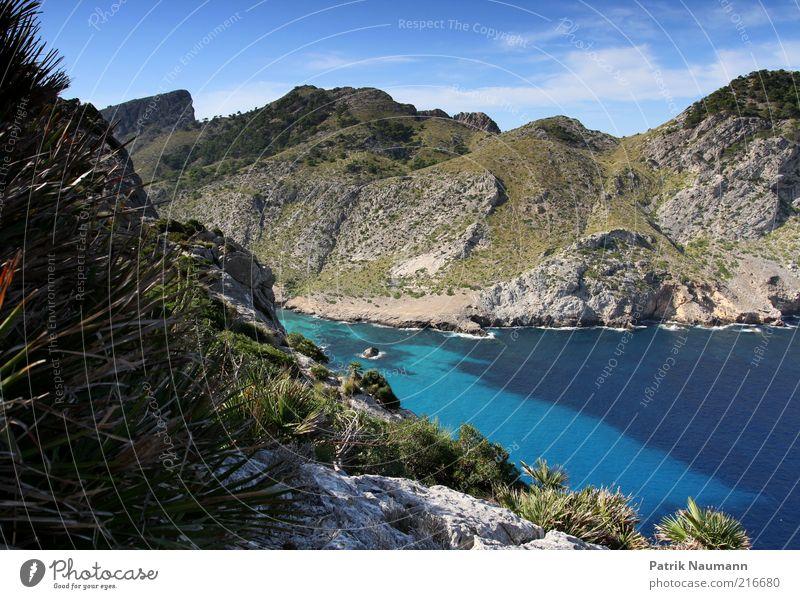 Die Bucht Himmel Natur blau schön Pflanze Ferien & Urlaub & Reisen Meer Wolken Ferne Freiheit Berge u. Gebirge Landschaft Umwelt Gras Wellen glänzend