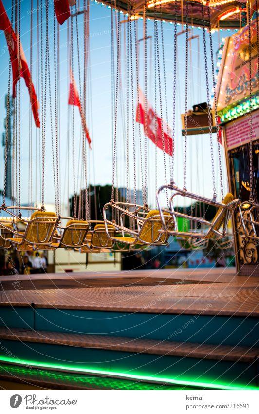 Kette fahren Freizeit & Hobby Kettenkarussell Karussell Ausflug Feste & Feiern Jahrmarkt Cannstatter Wasen Sitz Beleuchtung hängen authentisch mehrfarbig