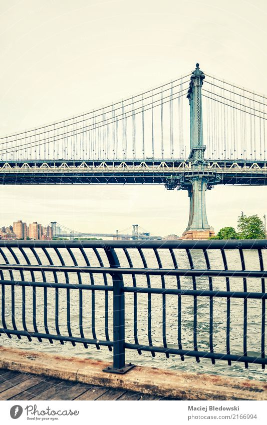 alt Stadt Architektur retro USA Brücke Fluss Sehenswürdigkeit Wahrzeichen Manhattan Großstadt Manhattan Bridge