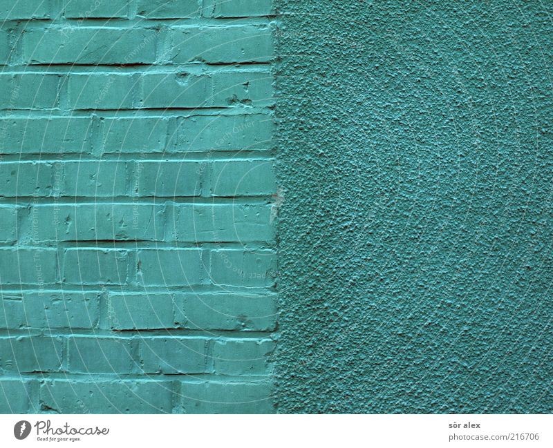grüne Wände blau schön Haus Wand Architektur Mauer Stein Arbeit & Erwerbstätigkeit Fassade verrückt türkis Putz bauen Fuge eckig