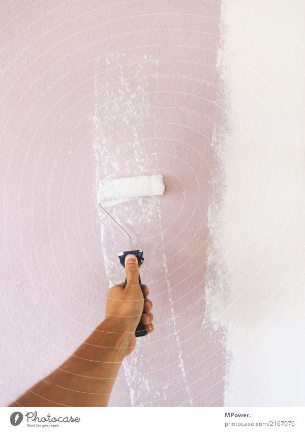 anstreicher Arbeit & Erwerbstätigkeit Beruf Handwerker Anstreicher Mensch Arme 1 gebrauchen Renovieren Malerbetrieb Farbe Leiter Umbauen Baustelle neu