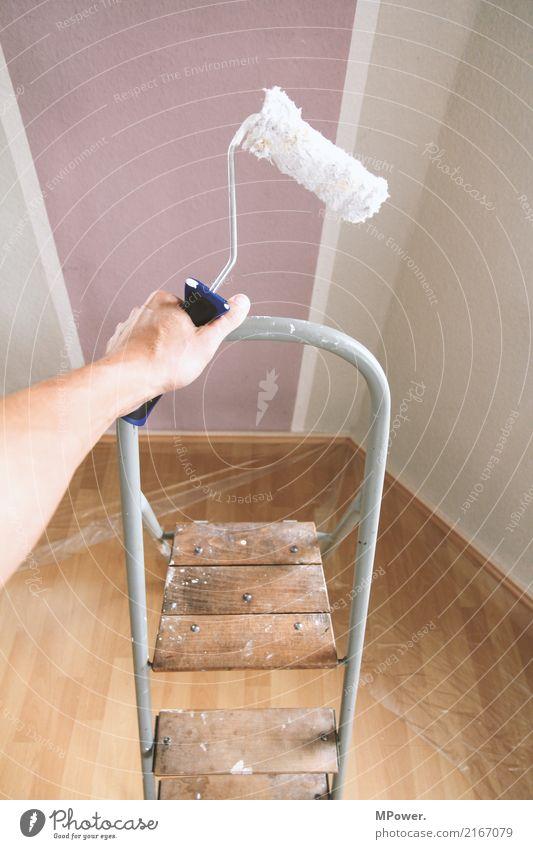 aufstieg des anstreichers Arbeit & Erwerbstätigkeit Beruf Handwerker Anstreicher Mensch Arme 1 gebrauchen Renovieren Malerbetrieb Farbe Leiter Umbauen Baustelle