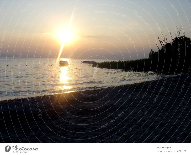 Sonnenuntergang am Gardasee Sonnenstrahlen weiß Licht Abendsonne Sonnenaufgang dunkel See Wellen Baum Wasserfahrzeug Strand Beleuchtung blau hell Himmel orange