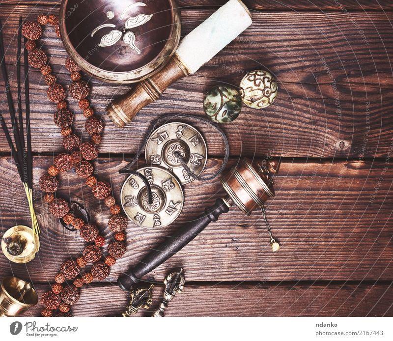 Erholung Religion & Glaube Holz braun harmonisch Meditation Schalen & Schüsseln Yoga Gebet Alternativmedizin Indien antik Klang alternativ üben Trommel