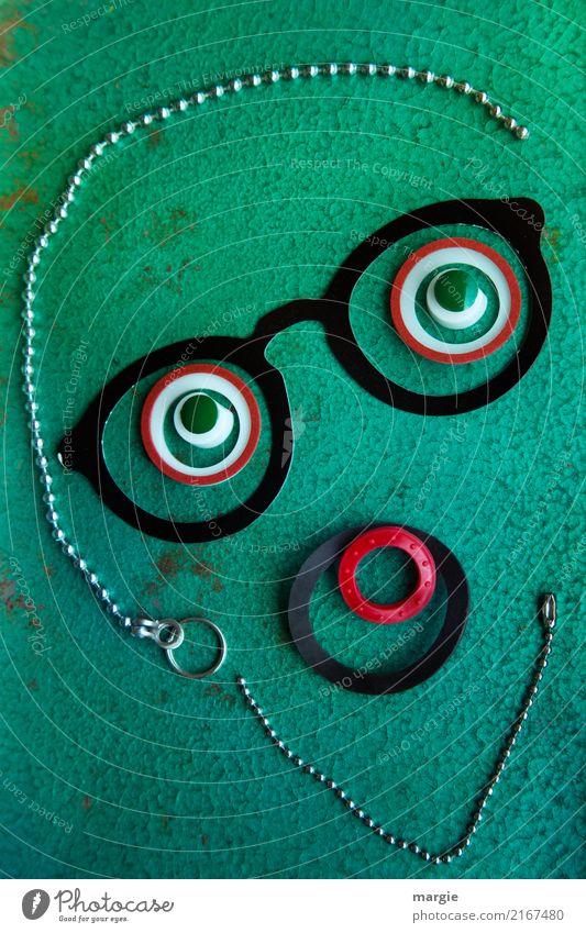 Emotionen...coole Gesichter: Wie bitte? Business Mensch maskulin Mann Erwachsene 1 grün schwarz Opferbereitschaft bescheiden Brille Auge Kette Gummi Mund Smiley