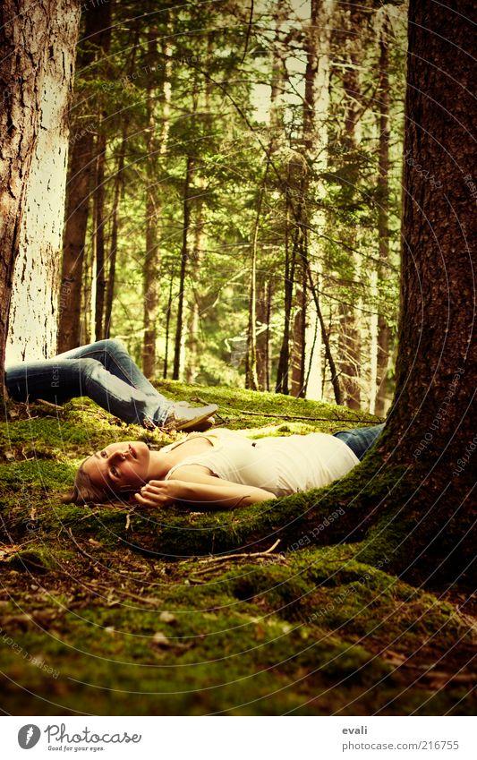 Gone without Frau Mensch Jugendliche grün Baum Erwachsene Wald feminin träumen liegen außergewöhnlich Sehnsucht 18-30 Jahre Schmerz Moos Junge Frau