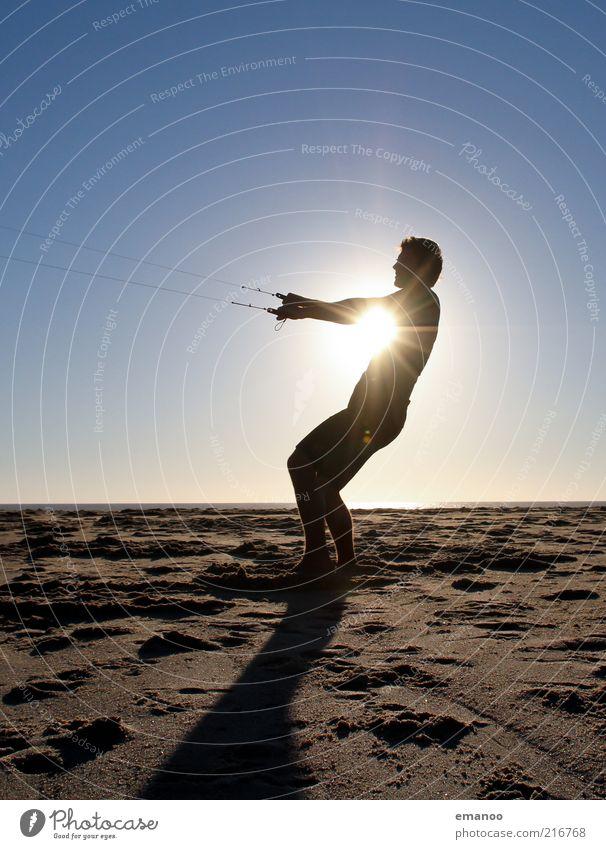 sun kiter Mensch Natur Jugendliche Ferien & Urlaub & Reisen Sonne Meer Sommer Strand Erwachsene Sport Freiheit Küste Sand Stil Wind Kraft