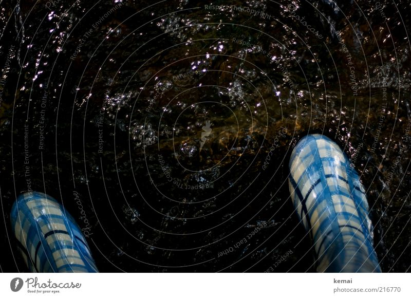 Gummistiefel, kleinkariert Umwelt Natur Wasser Bach Fluss Bekleidung Stiefel dunkel nass blau weiß fließen Luftblase Gewässer Farbfoto Außenaufnahme