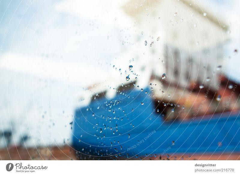 Nebensaisonale Hafenrundfahrt Wasser Wassertropfen Himmel Klima Wetter schlechtes Wetter Regen Schifffahrt Containerschiff Nieselregen Sightseeing Farbfoto