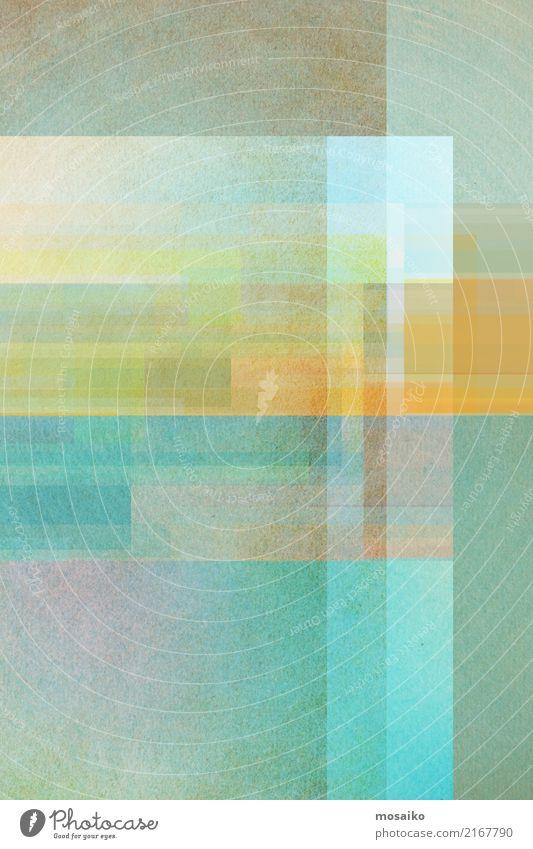 geometrisches Farbspiel Lifestyle elegant Stil Design Freude Kunst Kunstwerk authentisch außergewöhnlich Freundlichkeit retro blau mehrfarbig gelb grau grün