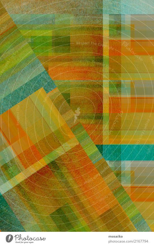 geometrisches Farbspiel Lifestyle elegant Stil Design Freude Kunst Kunstwerk ästhetisch außergewöhnlich retro blau braun mehrfarbig gelb gold grau grün orange
