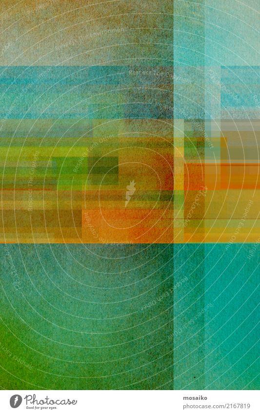 geometrisches Farbspiel Lifestyle elegant Stil Design Freude Kunst Kunstwerk blau braun mehrfarbig gelb gold grau grün orange türkis ästhetisch Kreativität