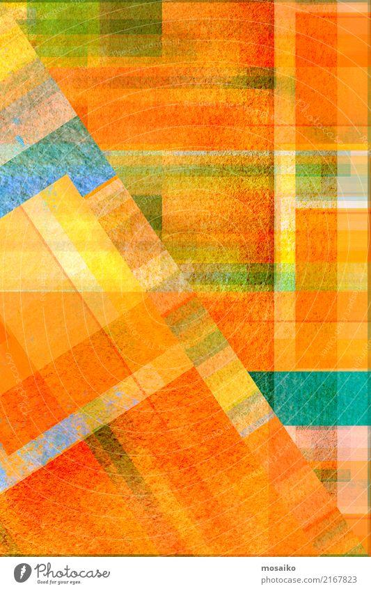 geometrisches Farbspiel blau Freude gelb Lifestyle Hintergrundbild Stil Kunst außergewöhnlich orange Design Zufriedenheit retro elegant ästhetisch authentisch