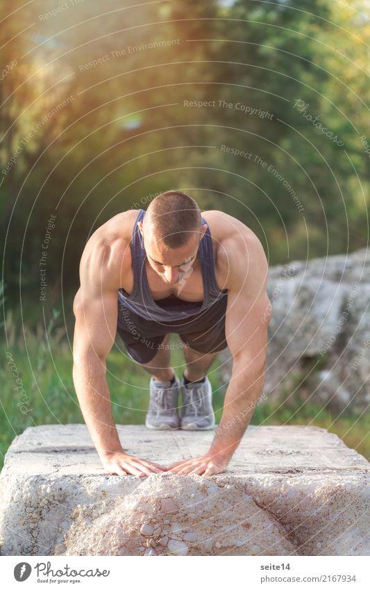 Liegestütz beim Outdoor Training im Park Lifestyle Gesundheit sportlich Fitness Leben Sommer Sonne Sport Sport-Training Sportler muskulös Muskelshirt Muskulatur
