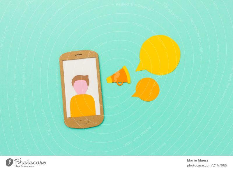 Mobile Marketing, Social Media, Podcast, Kommunikation Werbebranche Handy PDA Neue Medien Internet Kommunizieren Erfolg modern gelb türkis Coolness Idee Werbung