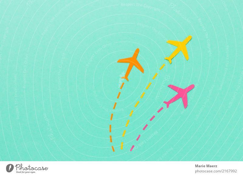 Flug Flotte Ferien & Urlaub & Reisen Ferne Leben gelb Bewegung Tourismus fliegen rosa ästhetisch Luftverkehr Papier Flugzeug Coolness Ziel Richtung Netz