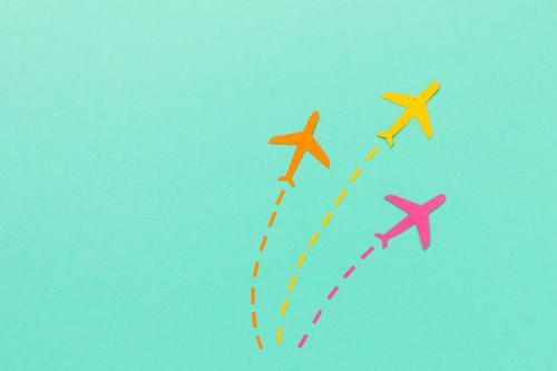Flug Flotte Ferien & Urlaub & Reisen Tourismus Ferne Luftverkehr Flugzeug fliegen ästhetisch Coolness gelb rosa türkis beweglich Leben Bewegung Ikon mehrfarbig