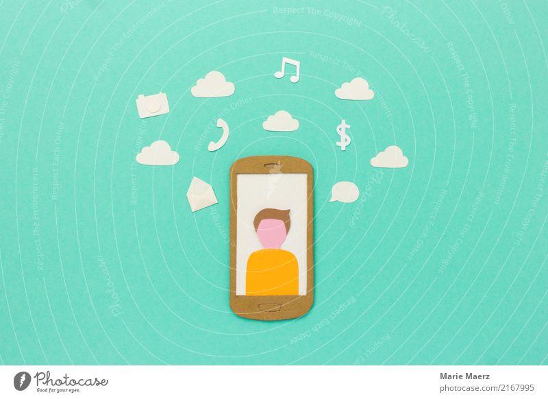Handy Apps - Telefon, Kamera, Mail, Musik, Shopping Mensch Mann Wolken Erwachsene sprechen Design modern Kommunizieren einzigartig Geschwindigkeit kaufen