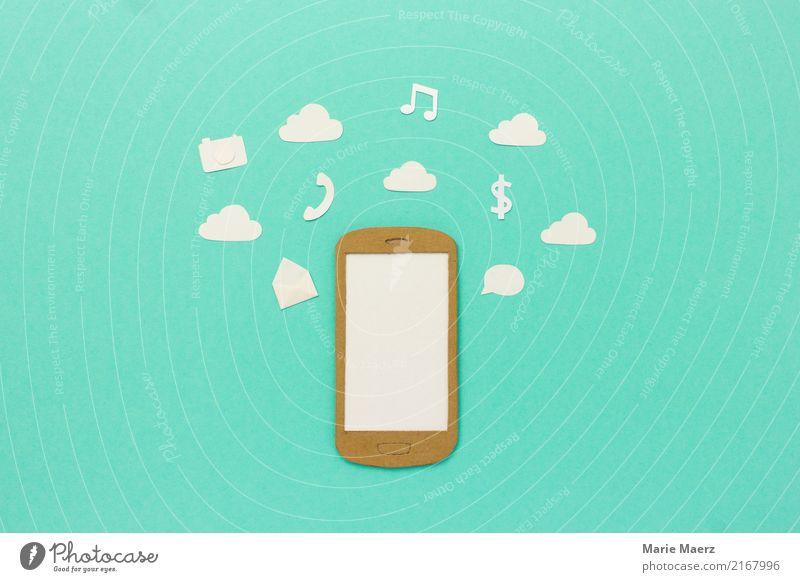 Multitasking Handy mit Symbolen und Wolken kaufen Entertainment sprechen PDA Informationstechnologie Internet Medien Arbeit & Erwerbstätigkeit Kommunizieren