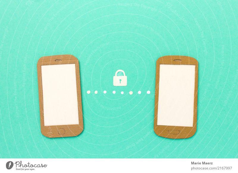 Datensicherheit - Sicherer Daten-Austausch am Handy Business sprechen PDA Telekommunikation Informationstechnologie Kommunizieren türkis Sicherheit Schutz