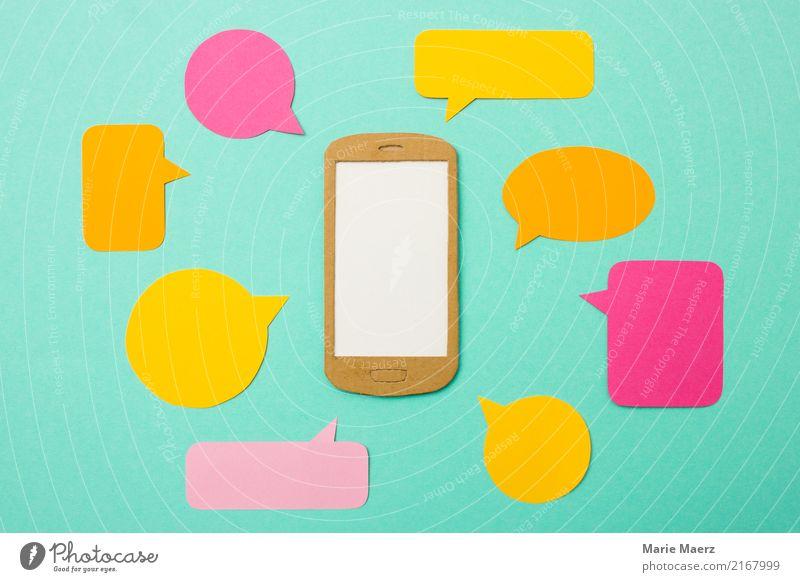 Handy mit vielen Nachrichten-Sprechblasen Lifestyle Telefon PDA gebrauchen Kommunizieren außergewöhnlich Unendlichkeit modern mehrfarbig Freude