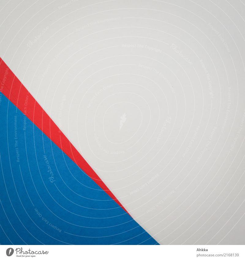 Blaue Ecke, roter Pfeil, weißer Untergrund, Papier Büroarbeit Arbeitsplatz Schreibwaren Zettel Linie blau Stress Energie Farbe Zufriedenheit komplex Konkurrenz
