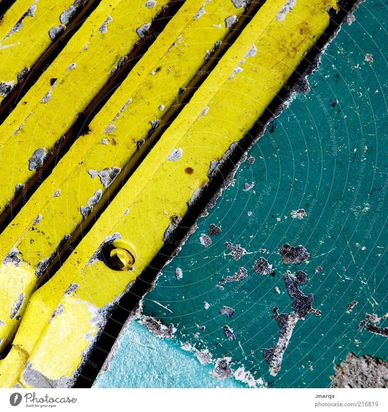 Heavy Metal Stil Design Maschine Metall Linie Streifen eckig einfach schön gelb grün Farbe Farbfoto Detailaufnahme abstrakt Muster diagonal Bildausschnitt