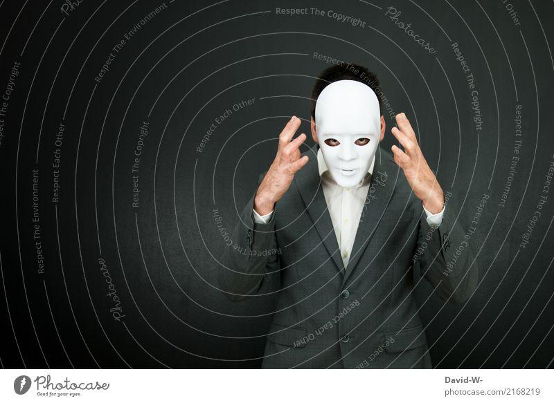 Grusel Mensch Jugendliche Mann Gesicht Erwachsene Leben Lifestyle Kunst Design maskulin träumen elegant verrückt geheimnisvoll Verstand Krankheit