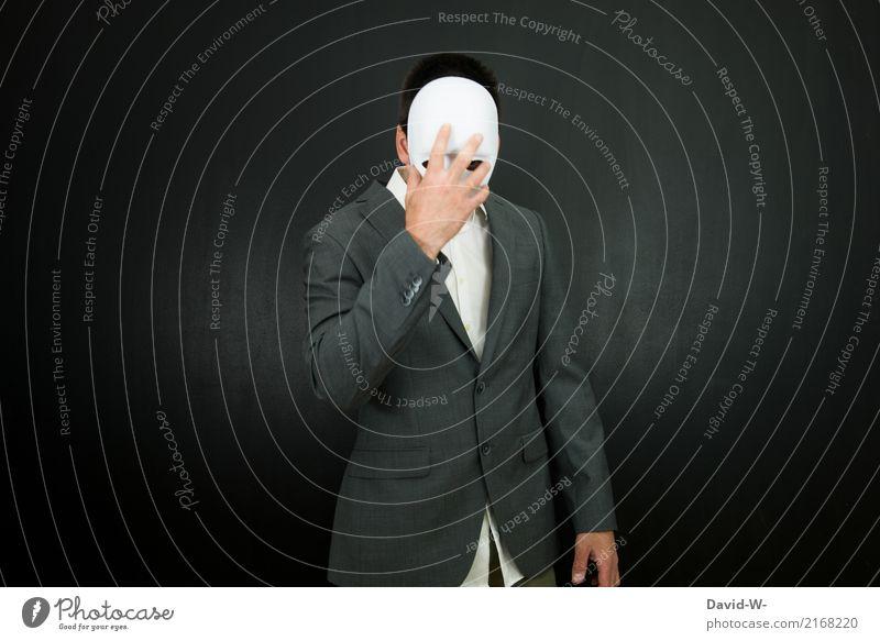 verstecken Mensch Mann Einsamkeit dunkel Erwachsene Leben Lifestyle Traurigkeit Stil Kunst maskulin elegant Kultur Schutz Maske Karneval