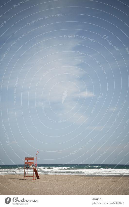 Baywatch (1) Himmel Meer Sommer Strand Ferien & Urlaub & Reisen Wolken Sand hell Küste Wellen Wetter Horizont Insel Tourismus Turm Wachsamkeit