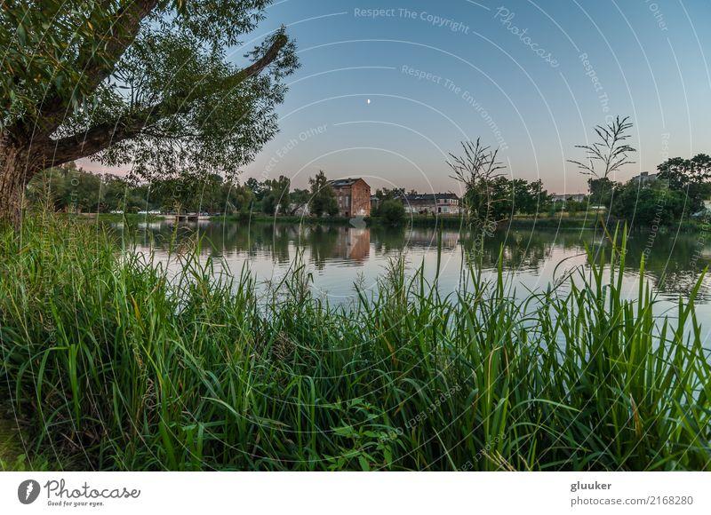 abendliche Landschaft. Blick von der Küste schön Spiegel Natur Himmel Baum Gras Sträucher Park Teich See Fluss Gebäude alt nass Aussicht Wasser sanft