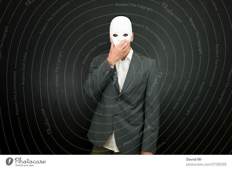entsetzt Mensch Mann weiß Gesicht Erwachsene Leben Traurigkeit Business Kopf maskulin beobachten entdecken Maske Wachsamkeit Geister u. Gespenster Anzug